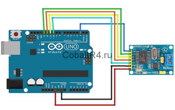 Подключение MCP2515 к Arduino UNO