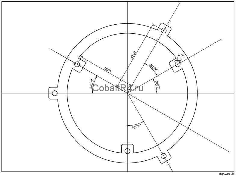 Чертеж переходного кольца для фиксации моторчика печки Chevrolet Cobalt и Ravon R4