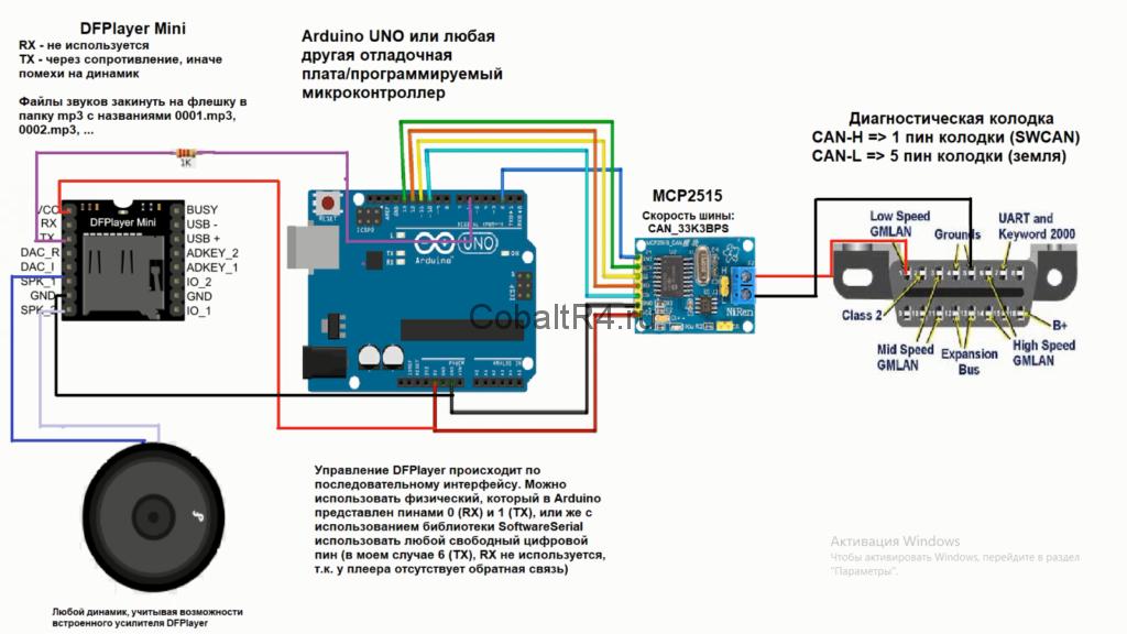 Схема подключения Arduino и MCP2515 для автомобиля Chevrolet Cobalt и Ravon R4