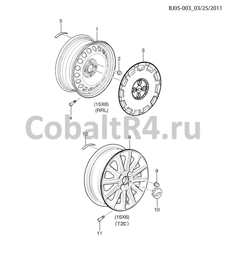 Схема размещения и установки запчастей (BJ05-003) 2013 JX69 КОЛЕСА И КОЛЕСНЫЕ КОЛПАКИ на автомобиле Chevrolet Cobalt и Ravon R4