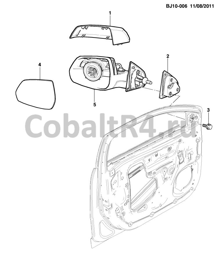 Схема размещения и установки запчастей (BJ10-006) 2013 JX69 ЗЕРКАЛО ЗАДНЕГО ВИДА РУЧН. на автомобиле Chevrolet Cobalt и Ravon R4
